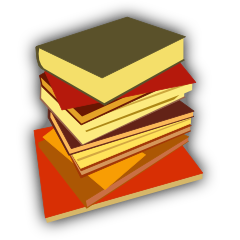 Logo. Stack of books.